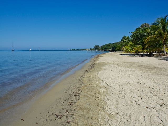 Bonito Beach. The stretch of beach in front of the house looking in the direction of West End..