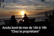 Accès au bord de Mer entre 16h et 18h pour admirer le coucher du soleil...