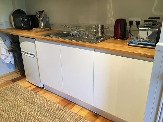 Fridge, microwave, kettle, toaster