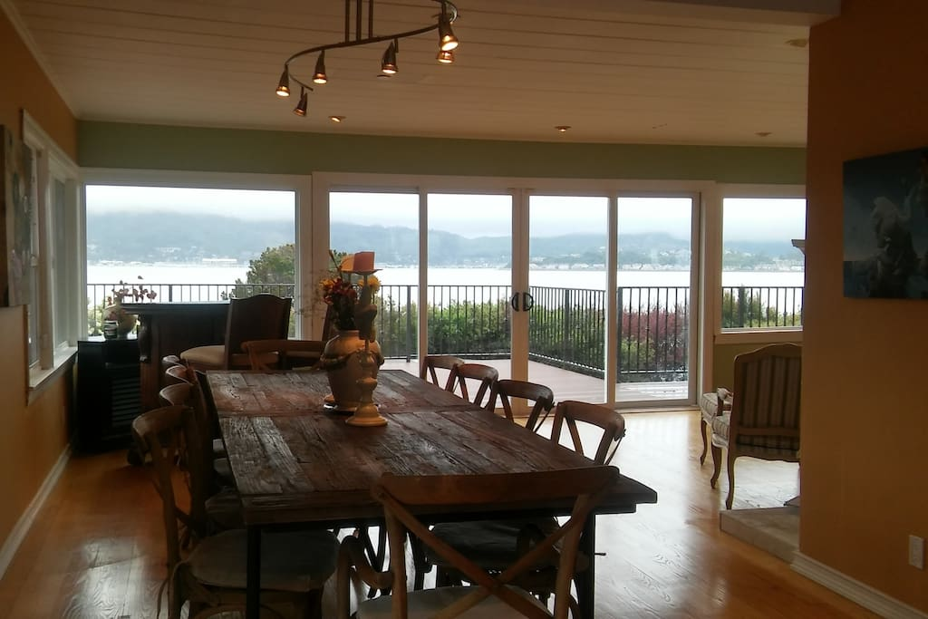 Enjoy the Panoramic Bay Views From the Provence Inspired Dining Room Table