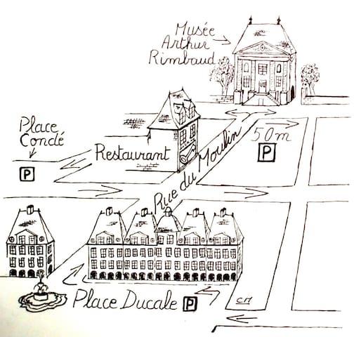 """Côté Chambres """"Au Cabaret Vert"""" - Charleville-Mézières - B&B/民宿/ペンション"""
