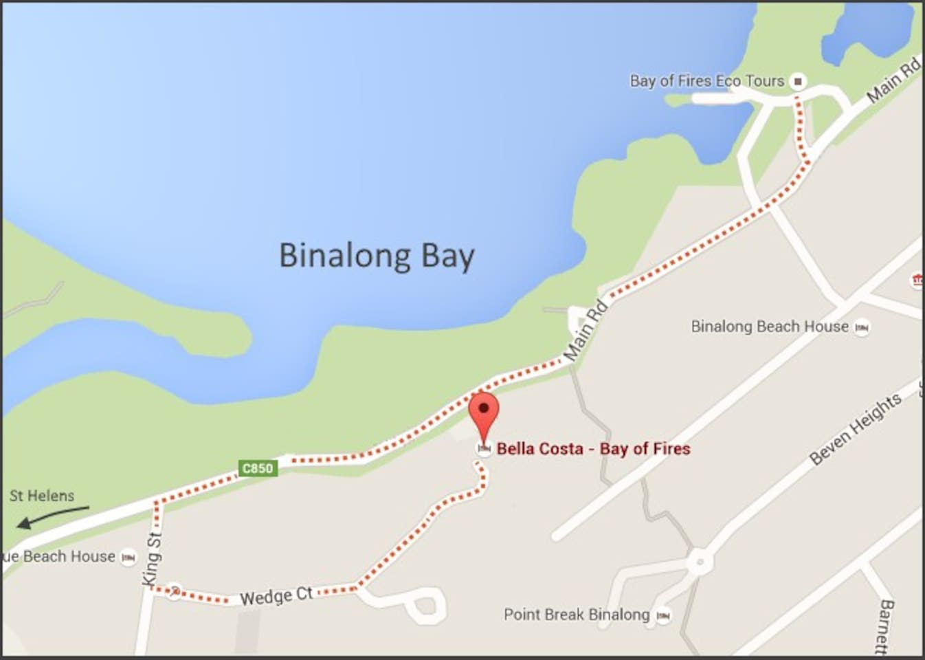 Map showing Bella Costa and Bay of Fires Eco Tours Booking Office (key collection)