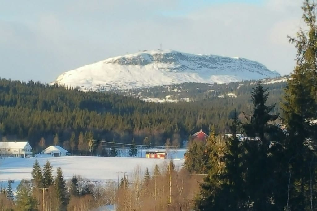 Winter view of Skeikampen from living room and second floor master bedroom and bathroom.