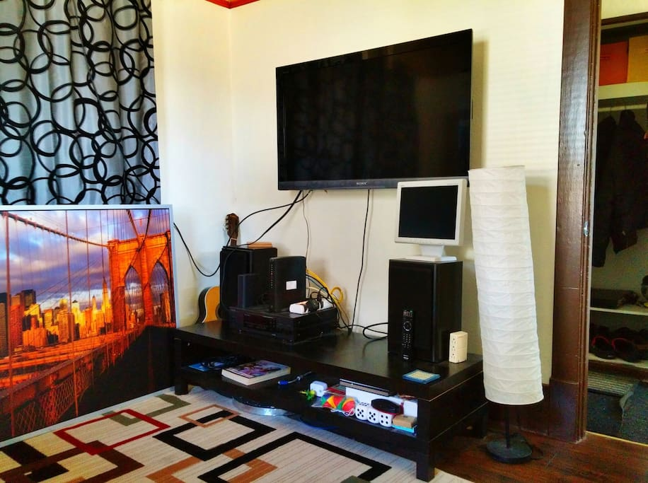 Large TV for use with hdmi cable for anyone who stays in this room
