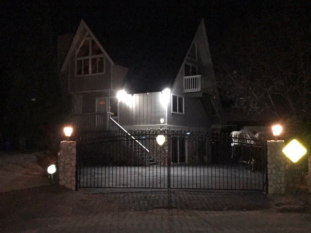 View of house from street at night