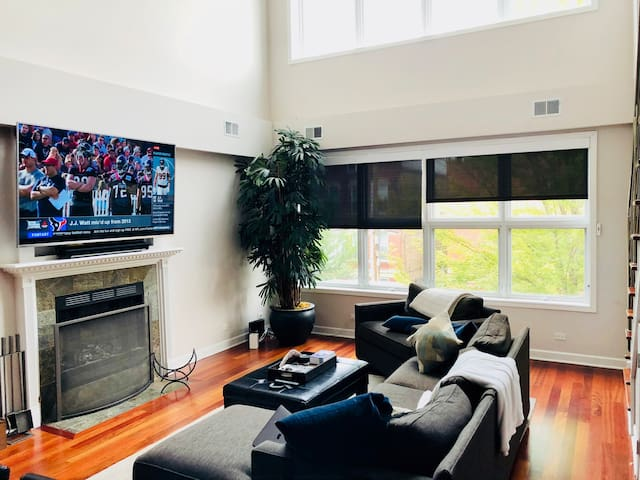 LUXURY LIVING ROOM WITH 28 FT CEILINGS AND 85 INCH OLED TV