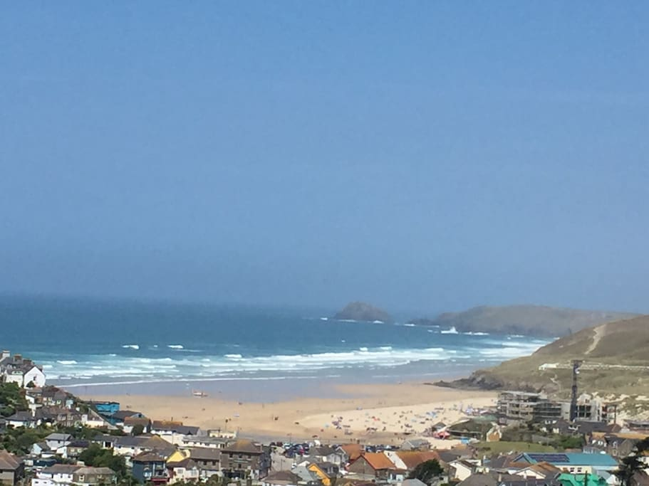 Fantastic view of Perranporth beach from the very front of the site (not from the caravan)