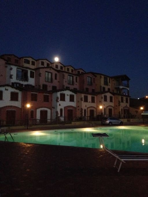 The swimming pool at night.