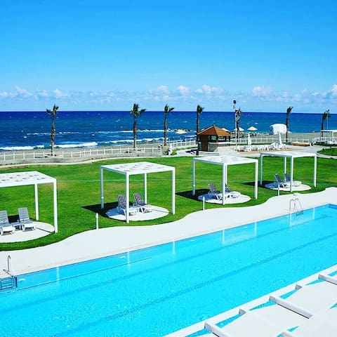 Sea view apartment in Aphrodite beach spa resort.