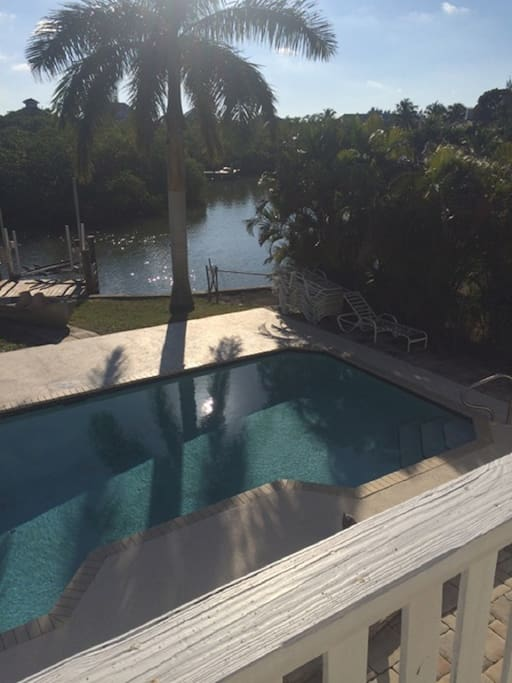 Pool overview from upper balcony