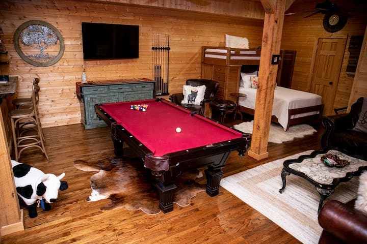 Downstairs bed/pool table