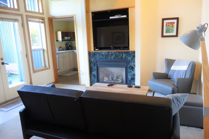 The apartment includes a gas fireplace for cozy evenings.