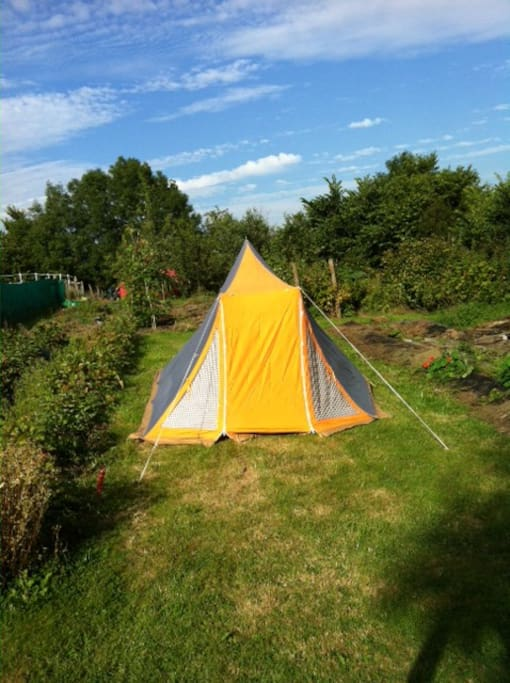 Garden pitch, showing tent available for hire