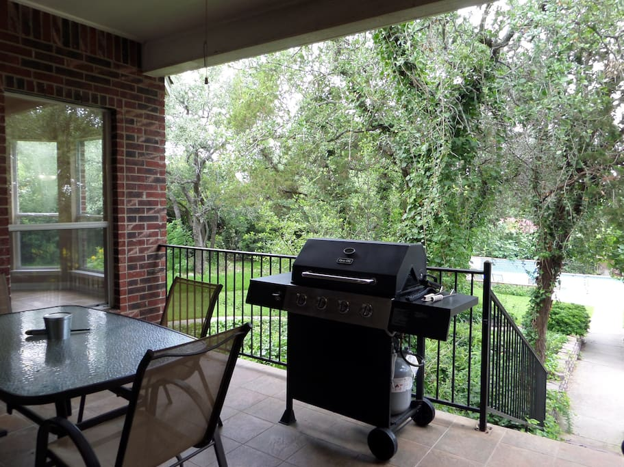Patio Table and Gas Grill