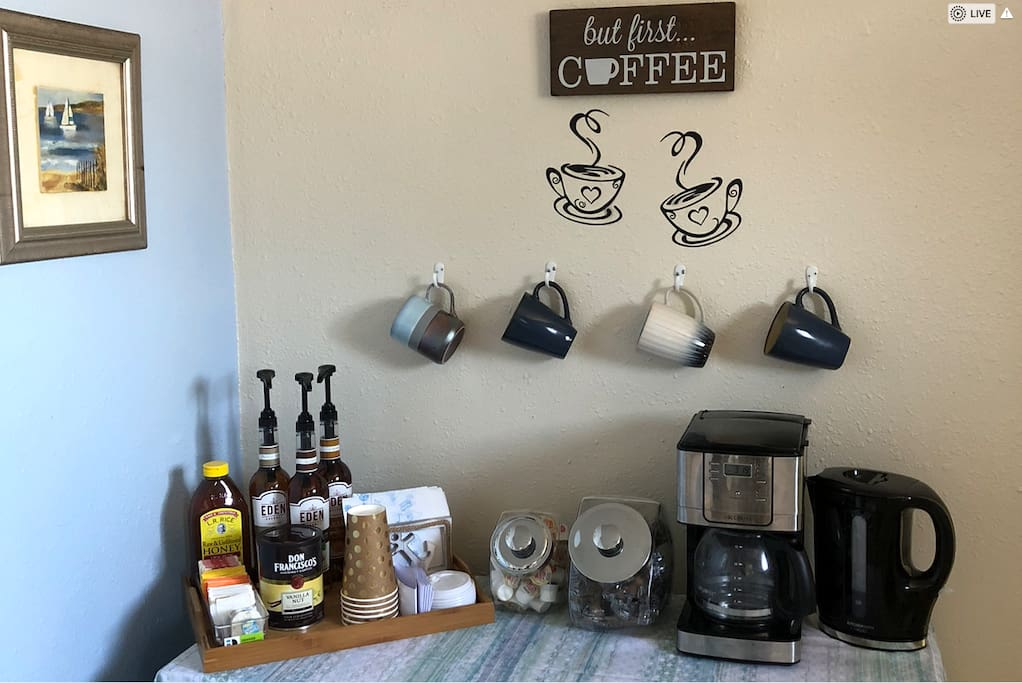 Free coffee and tea with all the fixings! Coffee maker programable so you can be woken up with the smell of that sweet java.