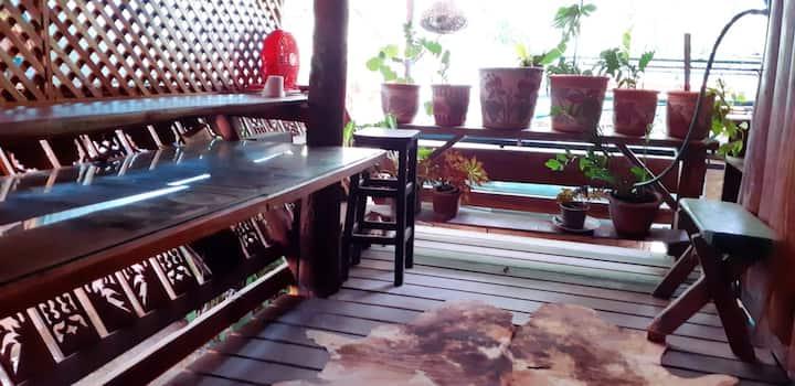 1 Bed, AC, Balcony w Private Work Space, Sauna