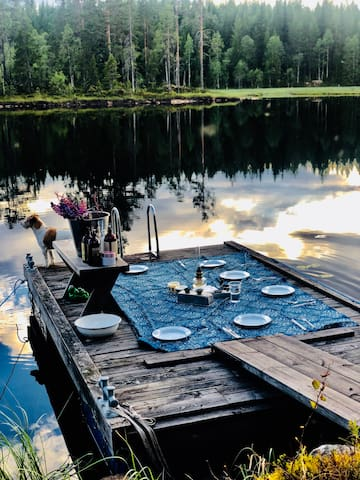 The cabin by the lake in Dalarna, Sweden,