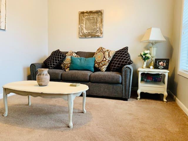Living Room w/ Queen size memory foam mattress.