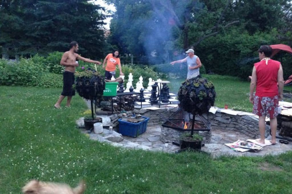 chess game and fire pit