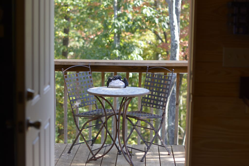 Table for two on the  apartment's small deck.
