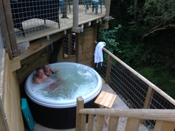 Eco house with hot tub,  above wooded stream