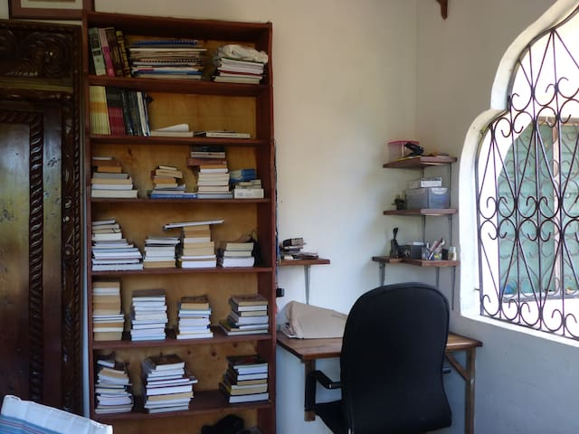 So many books!  And a writing desk,