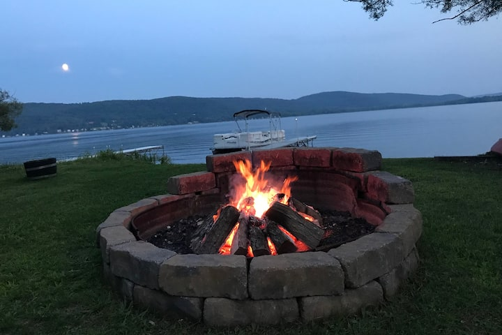"""Welcome to """"Camp Moonshine""""  lakefront cottage."""