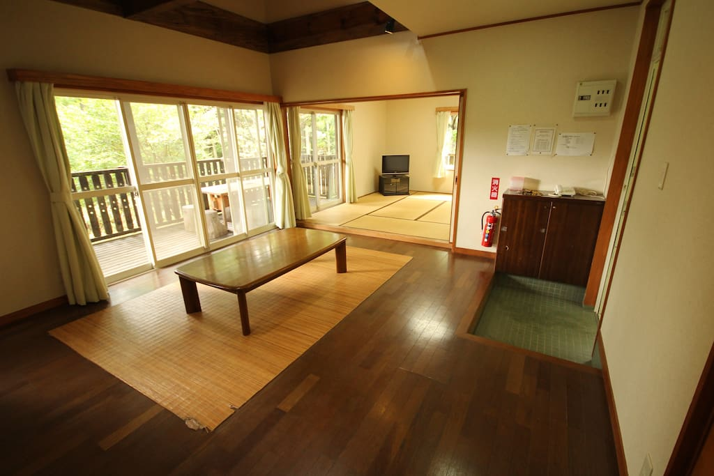 Living Area and Tatami area for sleeping with Futon