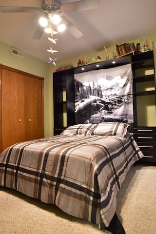 Downstairs bedroom with full size Murphy bed and walk out entrance