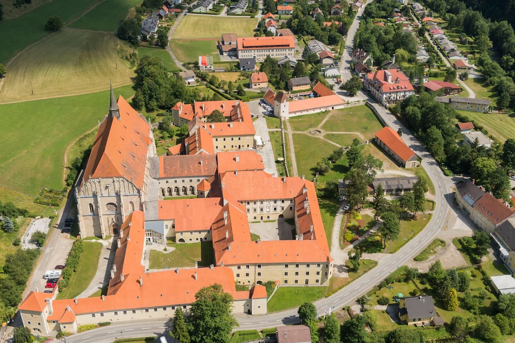 Castle & Monastery, view from the nearest mountain