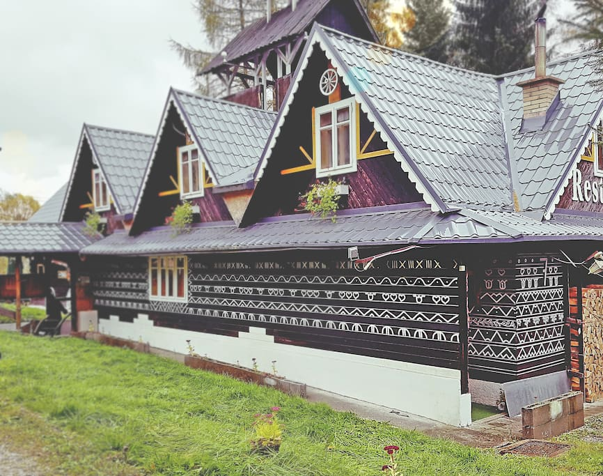 This is our 100y old  traditional wooden chalet. It is beautiful, but it needs a constant renovations, that are covered by our project Koliba u Jogošíka
