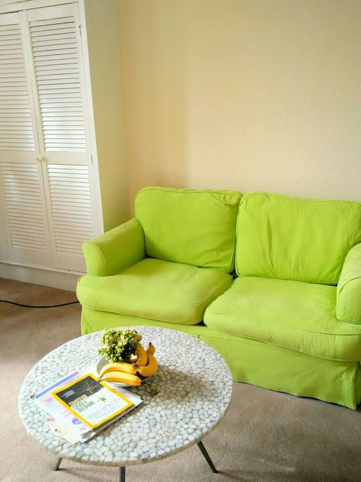 Sofa and coffee table in bright room