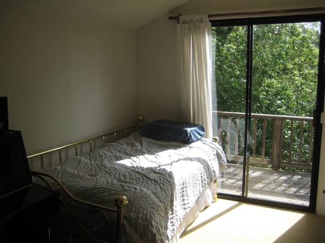 Guest bedroom with a sliding glass door opening to the back deck