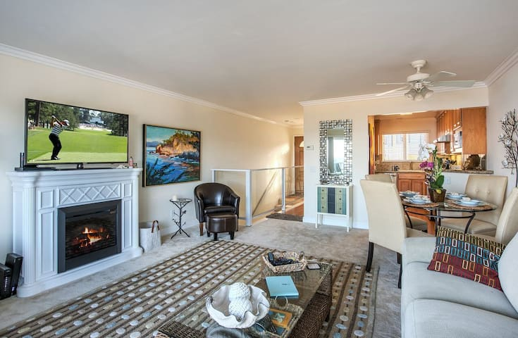 Great Room has living area, dining area and kitchen.