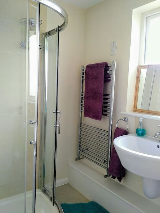 Your own bathroom with rainforest style, walk-in shower plus sink, toilet and heated towel rail.