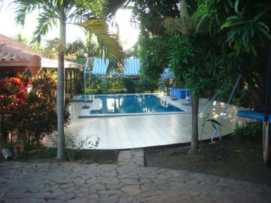 One of the terraces around the pool setting