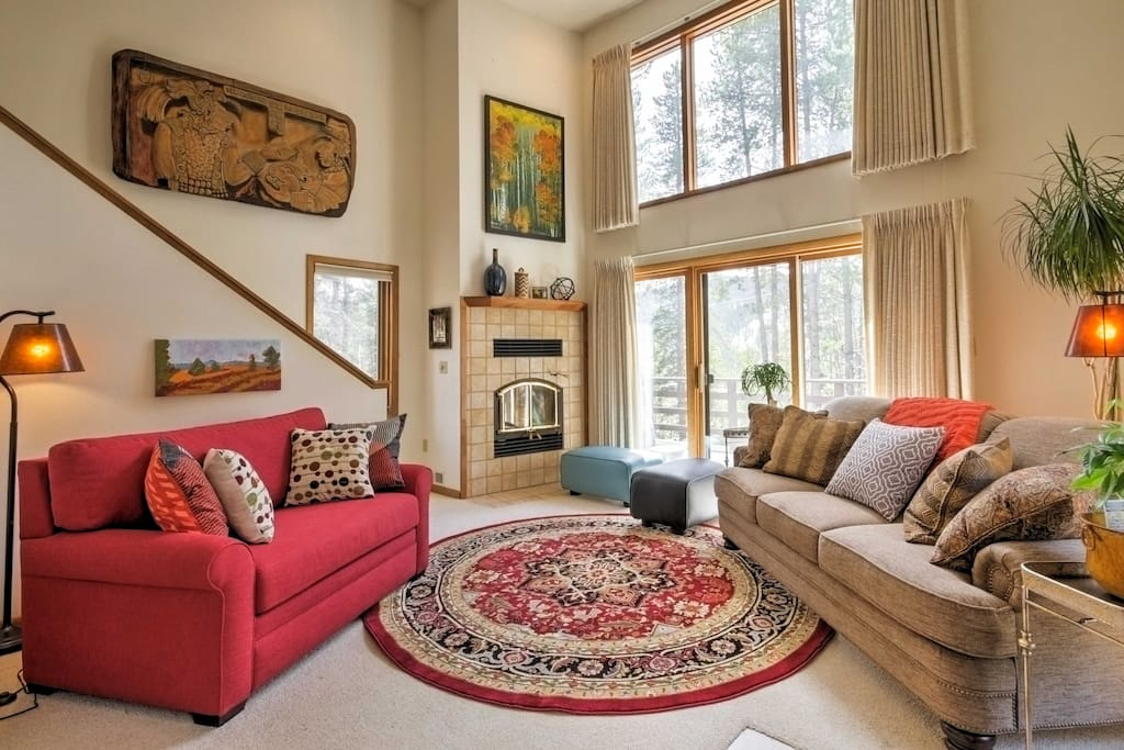 Sink into the plush sofas in the living room while you warm up by the fireplace on those chilly winter nights.