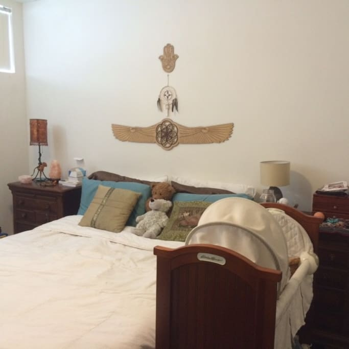 Master Bedroom with Bassinet if you need it and changing table.