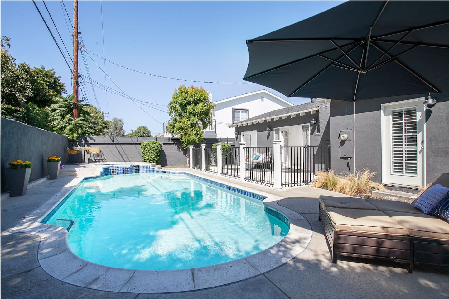 Pool and jacuzzi time in sunny California lasts all year long!! Have a drink  and relax in the day bed outside with friends and  family in the pool, jacuzzi, shade or sun!