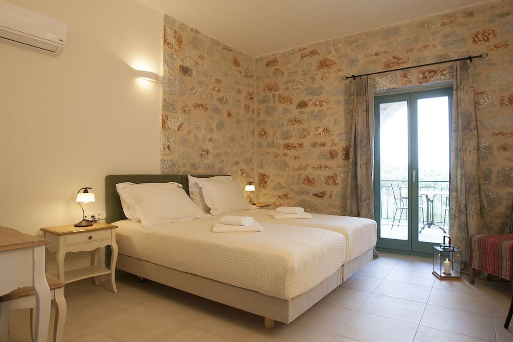 Each bedroom is furnished with two Coco-Mat twin beds that are usually interlocked.