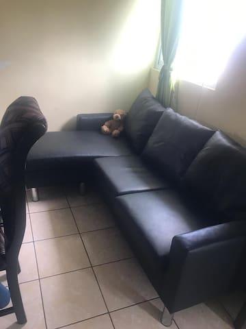 Habitación  con 1 cama y sofá  cama