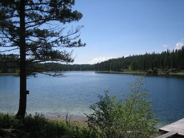 Private lake access with boat dock is perfect for day use, rental includes canoe