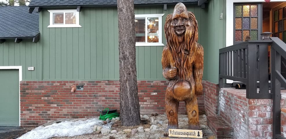 Legend says that rubbing our Sasquatch statue's belly will bring you good luck!