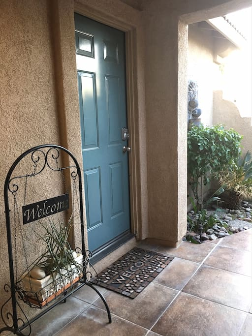 Private entrance with security keyless code entry.