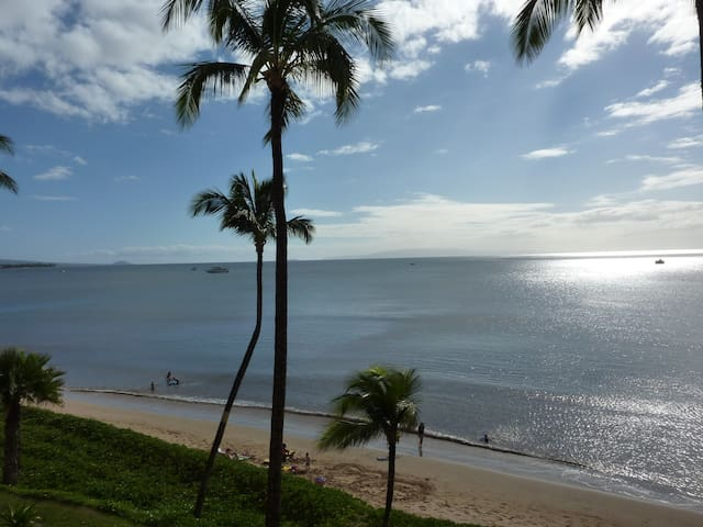 East view from our lanai of Sugar Beach's six mile soft sandy beach.  You can watch the canoe club.