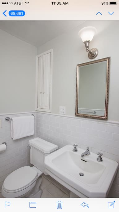 Downstairs bathroom (including shower/tub)  close to your bedroom - there is another full bathroom upstairs as well