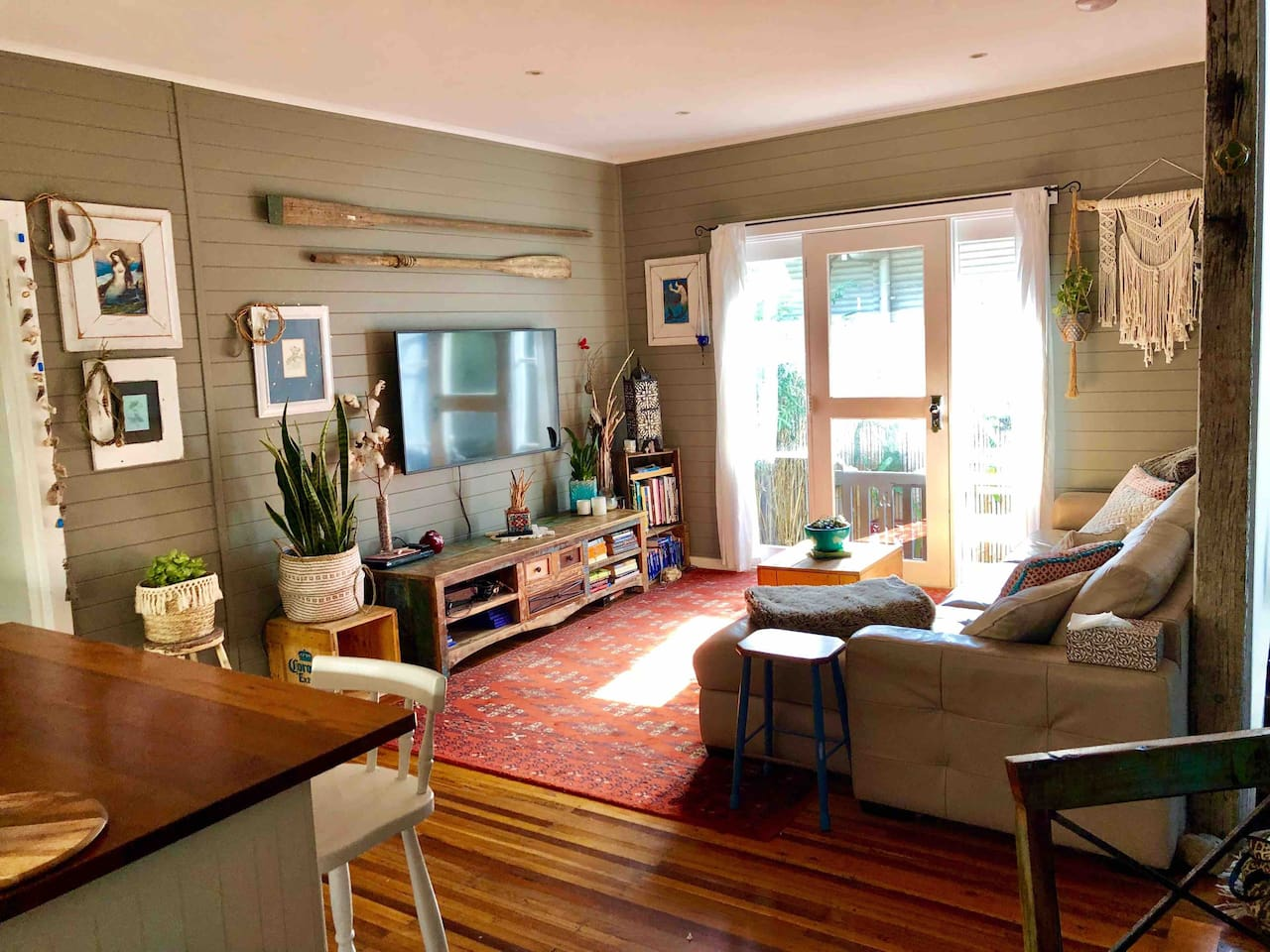 Large open plan living and dining area adjoining full kitchen. The house is beautifully presented as beachside boho chic. It has all the touches of home with a wonderful holiday feel.
