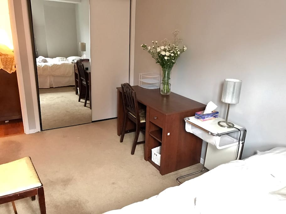 Full Length Mirror, Closet, and Workspace in your bedroom