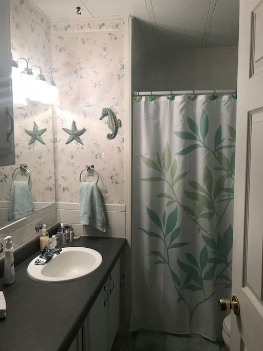 Full size bathroom for your private use. Towels, soap, shampoo, conditioner, toothpaste, toothbrushes,hair dryer, curling iron, shower cap (throw away), Q-tips, and other miscellaneous toiletry items provided.