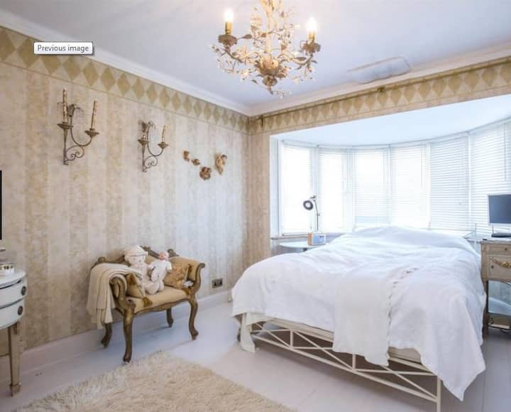 Beautifully decorated bedroom with King Sized Bed
